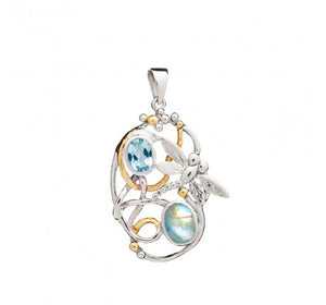 Meadow Pendant with Blue Topaz & Moonstone