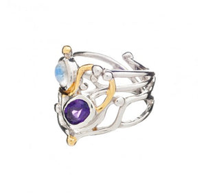 Seaweed Ring with Amethyst & Moonstone - The Collective Dublin