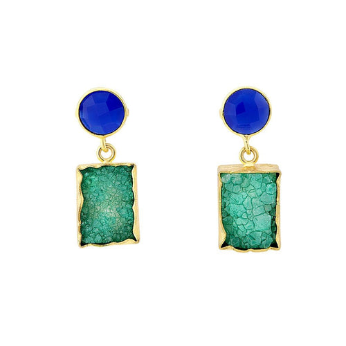 Green druzy and blue studs - The Collective Dublin