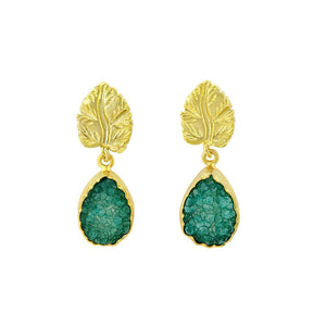 Green druzy and gold leaf earrings - The Collective Dublin