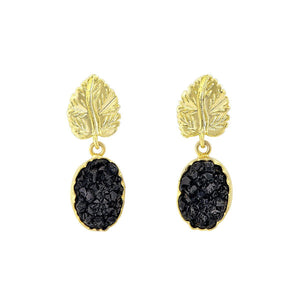 Black druzy and gold leaf earrings - The Collective Dublin