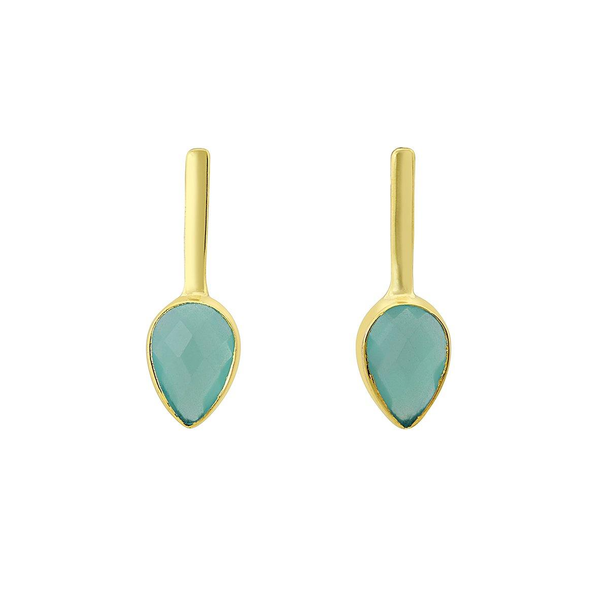 Bluey green agate and gold earrings - The Collective Dublin