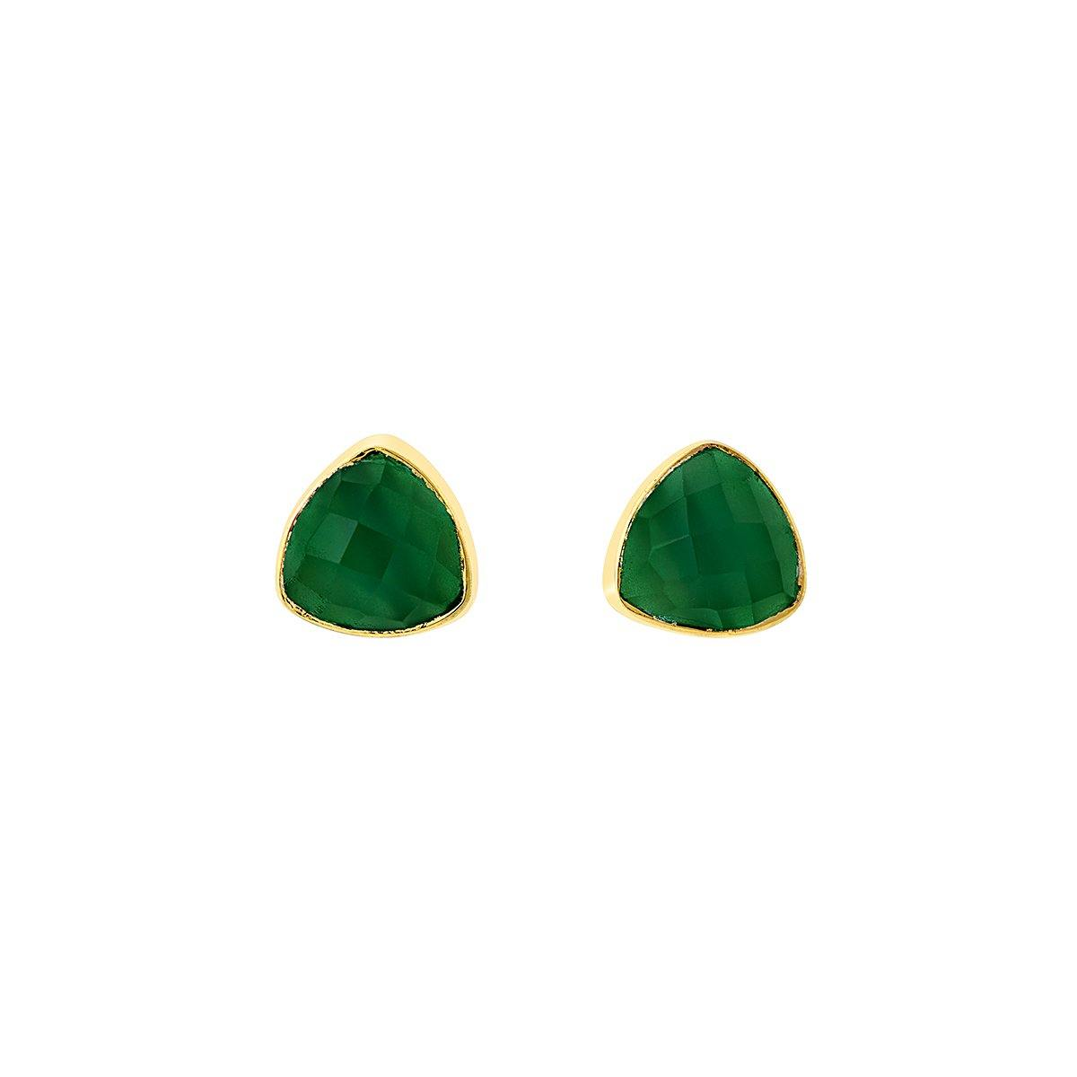 Green agate and gold studs - The Collective Dublin