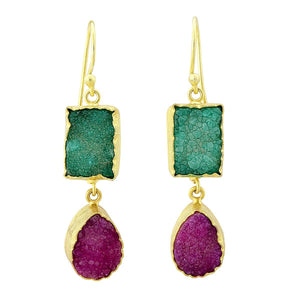 Green and cerise druzy earrings - The Collective Dublin