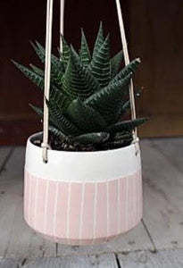 Blush Stripe Hanging Planter