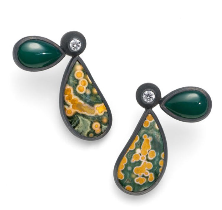Wing Shaped Jasper & Green Agate Earrings