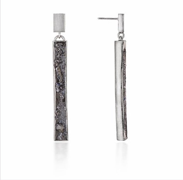 Urban Geode silver vertical drop earrings - The Collective Dublin