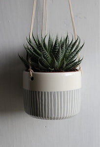 Grey Stripe Hanging Planter