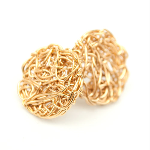 Knot Stud Earrings Gold (Large) - The Collective Dublin