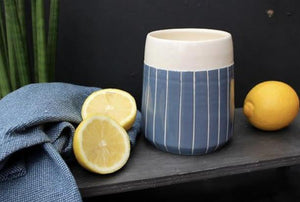 Navy Stripe Tapered Planter