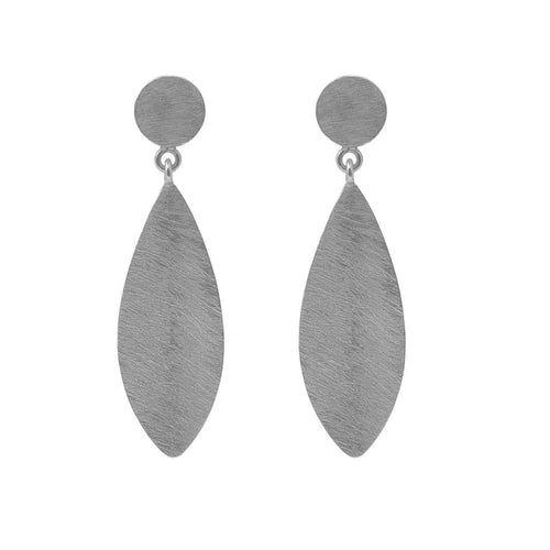 Satin finish silver marquis drop earrings - The Collective Dublin