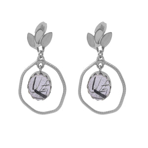 Tourmulated quartz  set in beautiful silver flower design earrings - The Collective Dublin