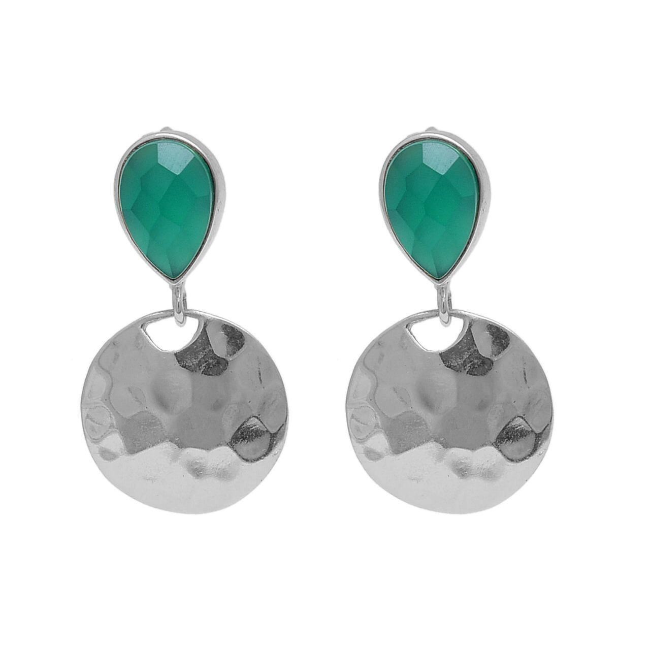 Green agate in silver hammered disk earrings - The Collective Dublin