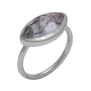 Black tourmulated quartz and silver ring - The Collective Dublin
