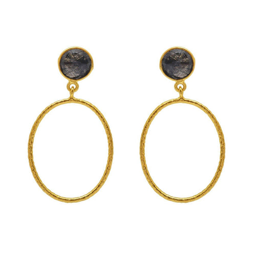 Black tourmulated quartz and gold earrings - The Collective Dublin