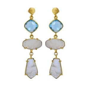 Blue topaz and moonstone gold earrings - The Collective Dublin