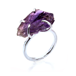 Raw Amethyst Rock Ring