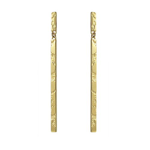 SKIN TEXTURED DROP EARRINGS - GOLD PLATED SILVER
