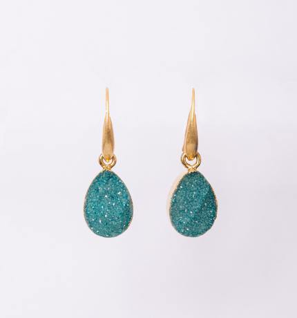Teal Blue Druzy set in gold drop earrings