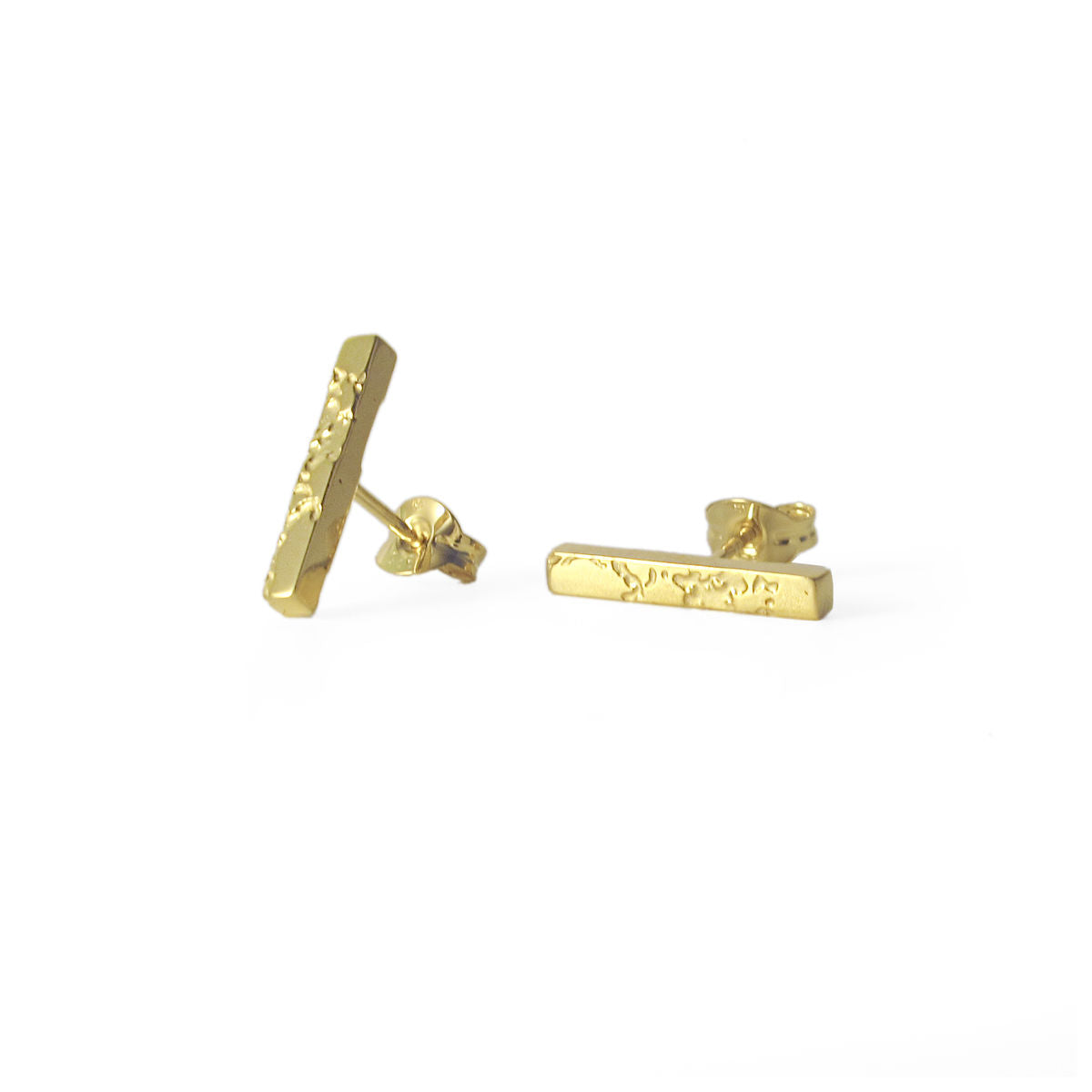 SKIN TEXTURED BAR STUD EARRINGS - GOLD PLATED SILVER