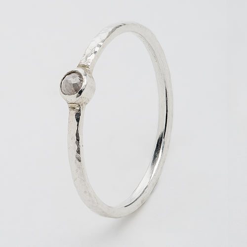 Sterling Silver Stacking Ring Grey Diamond