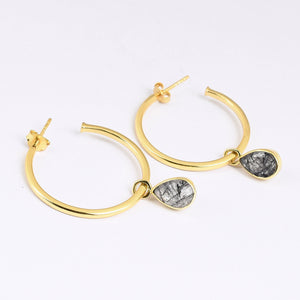 Black Routile Hoop Earrings