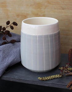 Grey Stripe Tapered Planter