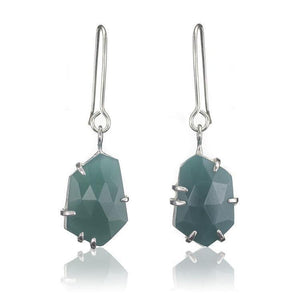 Green Onyx set in silver drop earrings. - The Collective Dublin