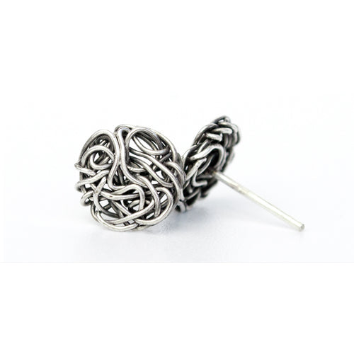 Knot Stud Earrings Antiqued Silver (small)