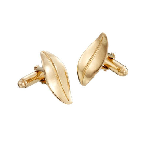 Leaf cufflinks in gold - The Collective Dublin