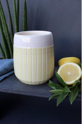 Lemon Stripe Tapered Planter