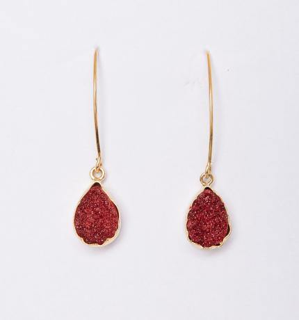 Red Druzy Gold Earrings