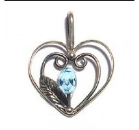 Heart Leaf Pendant in Blue Topaz - The Collective Dublin