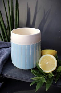 Blue Stripe Tapered Planter