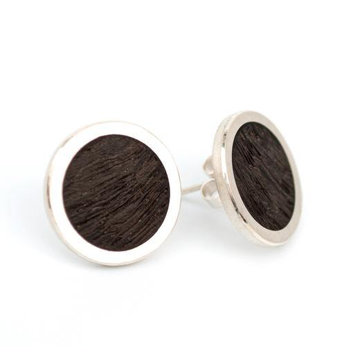 Irish wood stud earrings
