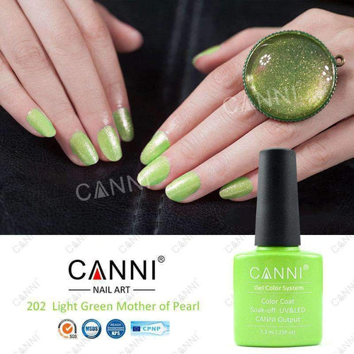Canni 202 Light Green Mother of Pearl 7.3ml-Νύχια-Canni-IKONOMAKIS