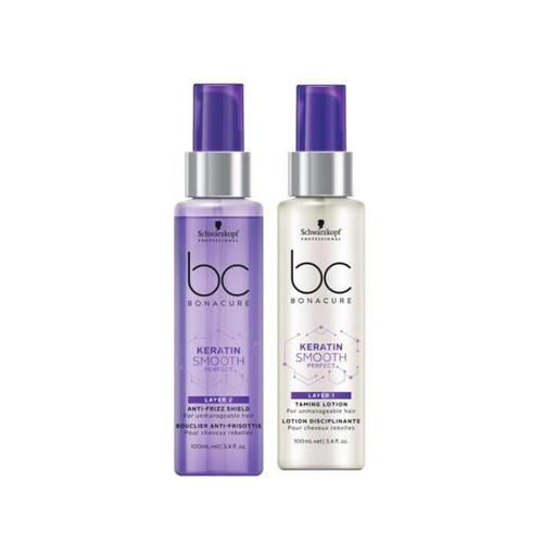 Schwarzkopf Professional BC Keratin Smooth Duo Layering (Taming Lotion L1 100ml - Anti-Frizz Shield L2 100ml-Μαλλιά-Schwarzkopf Professional-IKONOMAKIS