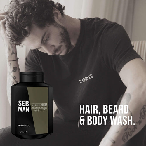 Sebastian Professional Seb Man The Multi-Tasker 3in1 Hair, Beard & Body Wash 250ml-MENS CARE-Sebastian Professional-IKONOMAKIS