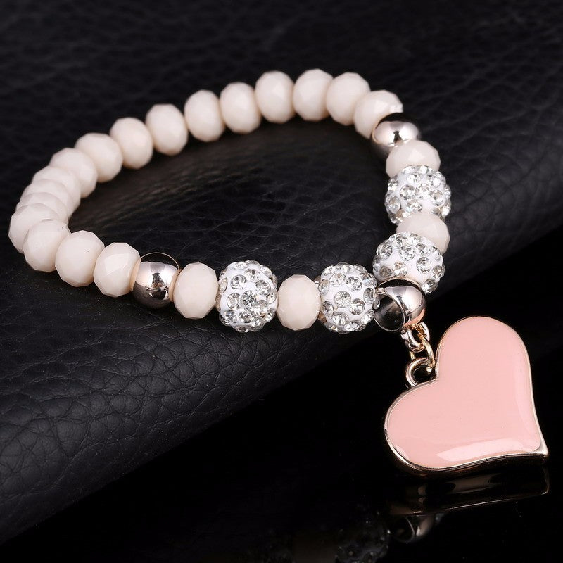 Pink and Crystal Heart Bracelet