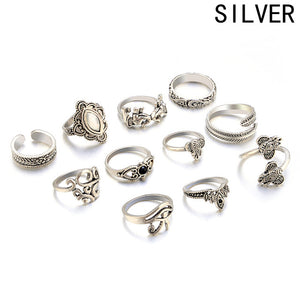 11 Piece Stack Boho Crystal Rings