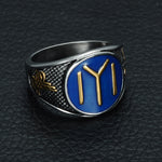 High Quality Sterling Silver Ring with Dirilis Ertugrul Kayi Symbol on Blue Enamel.