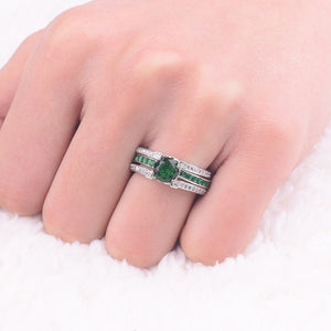 SILVER EMERALD BIRTHSTONE RING (MAY)