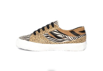 Superga swallow tail triple calf hair cheetah zebra white