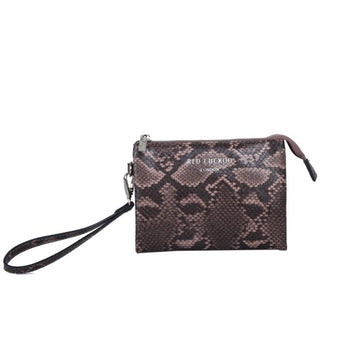 Red Cuckoo PP103 BROWN - Brown Snakeskin Multiway Wristlet Purse