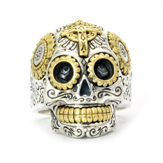 Ride Now Or Never 7.5 Sterling Silver Biker Sugar Skull Ring for Men/Women- Handcrafted Silver