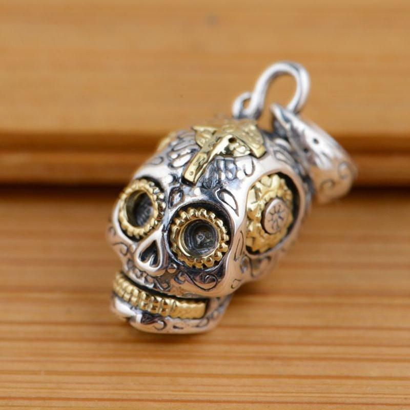 Ride Now Or Never Sterling Silver Sugar Skull Necklace Pendant Jewelry