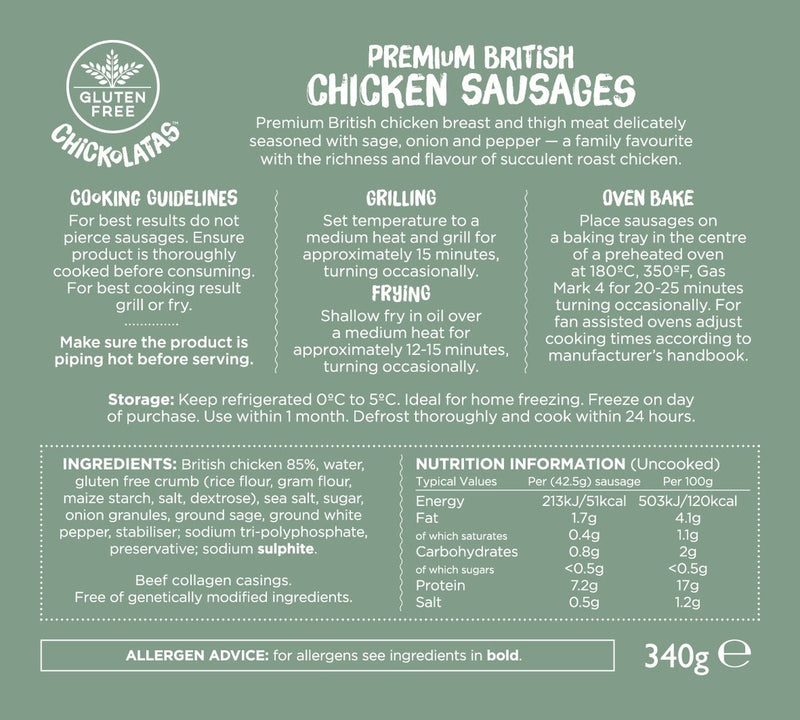 Chickolatas 8 Premium British Chicken Sausages (multipack of 5)