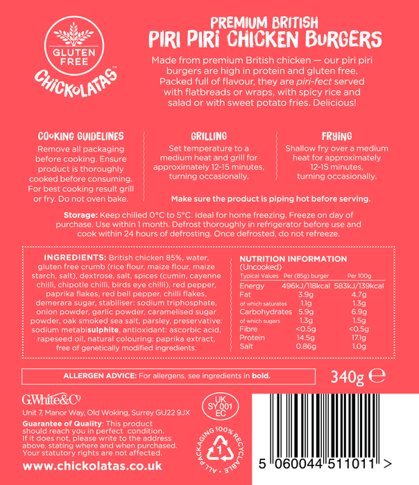 Chickolatas Piri Piri Chicken Burgers (multipack of 5)