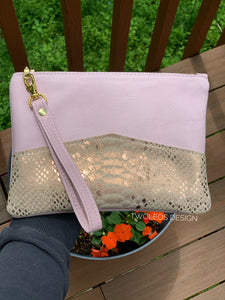 Leather Wristlet Clutch - Pink