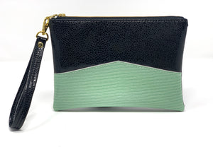 Wristlet Clutch - Black + Mint